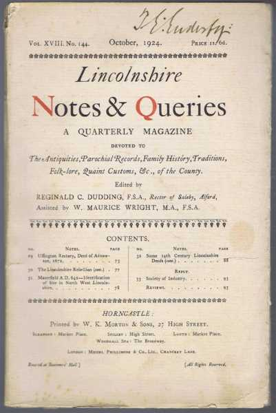 Image for Lincolnshire Notes and Queries, A Quarterly Magazine, Vol XVIII, No. 144, October 1924