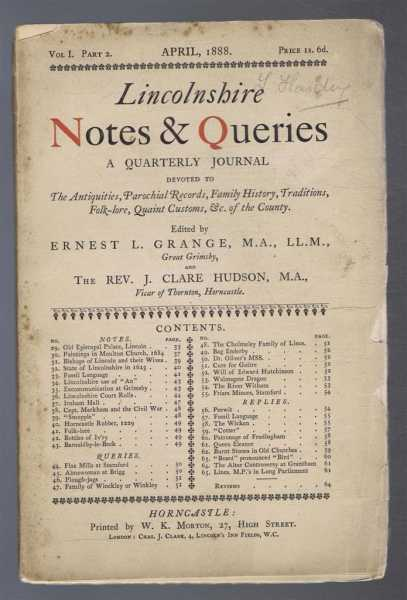 Image for Lincolnshire Notes and Queries, Vol I Part 2, April 1888