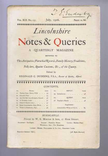 Image for Lincolnshire Notes and Queries, Vol XIX No 151, July 1926