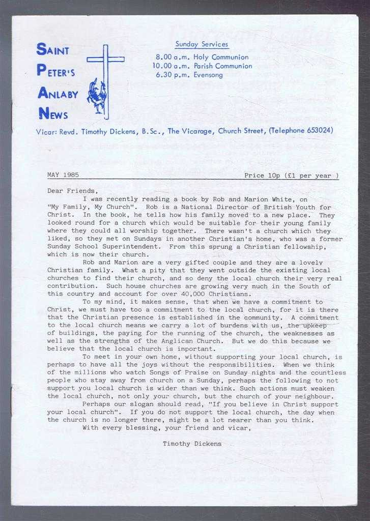 TIMOTHY DICKENS - Saint Peter's Anlaby News & York Diocesan Leaflet - May 1985