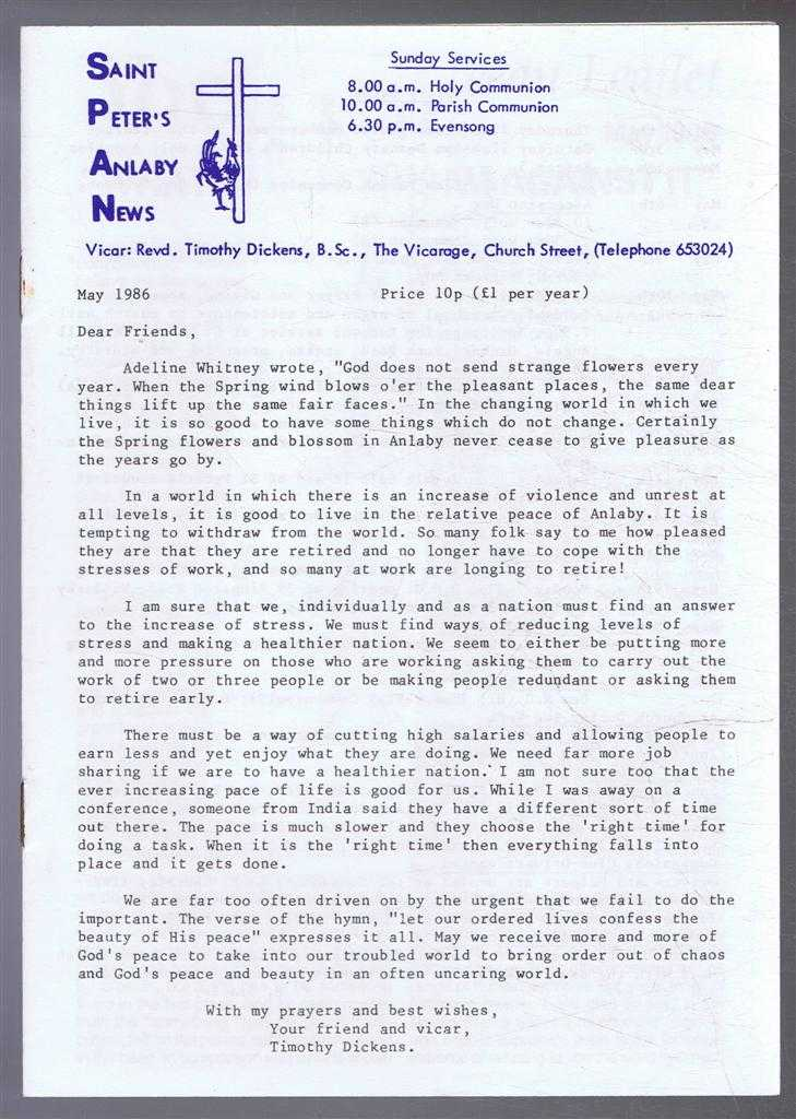 TIMOTHY DICKENS - Saint Peter's Anlaby News & York Diocesan Leaflet - May 1986