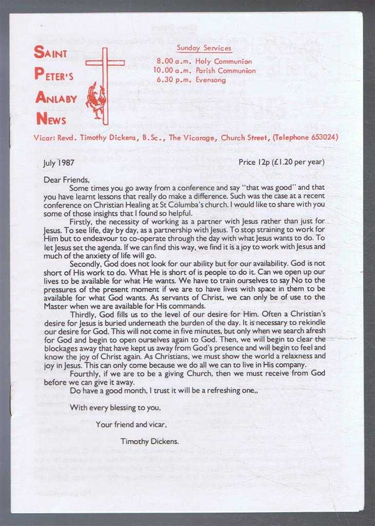 TIMOTHY DICKENS - Saint Peter's Anlaby News & York Diocesan Leaflet - July 1987