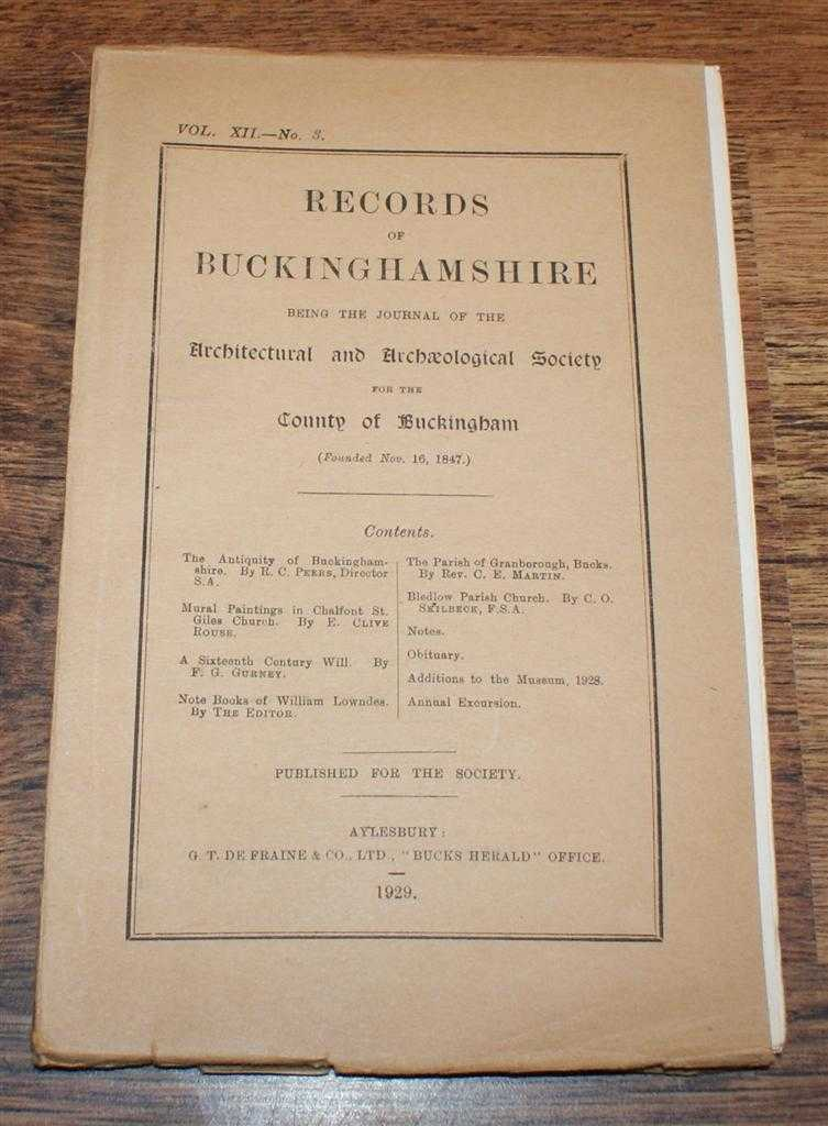 Image for Records of Buckinghamshire Vol. XII No. 3, being the Journal of the Architectural and Archaeological Society for the County of Buckingham, 1929