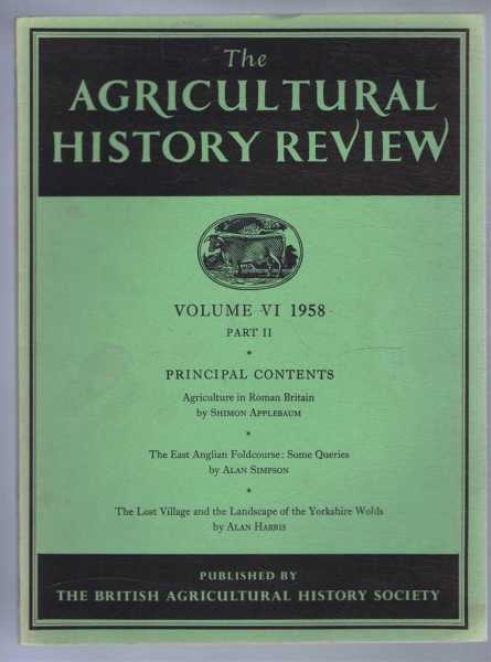 Image for The Agricultural History Review, Volume VI 1958 Part II Only