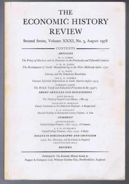 The Economic History Review, Second Series, Volume XXXI, No. 3, August 1978, Edited by B E Supple and F L M Thompson