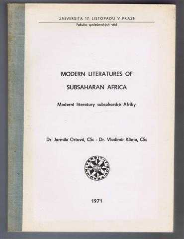 Image for Modern Literatures of Subsaharan Africa, Moderni literatury subsaharske Afriky