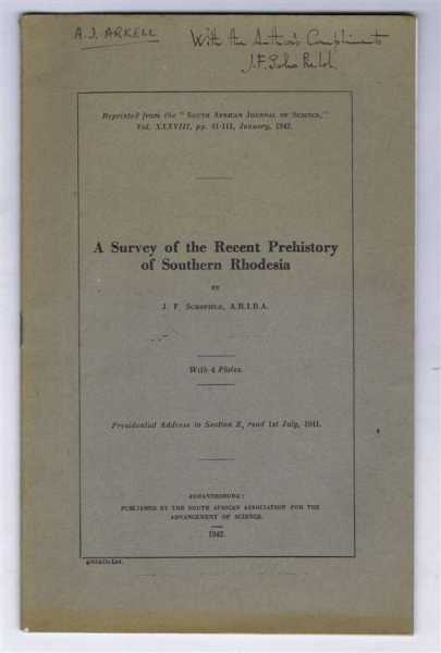 Image for A Survey of the Recent Prehistory of Southern Rhodesia by J F Schofield. With 4 plates.