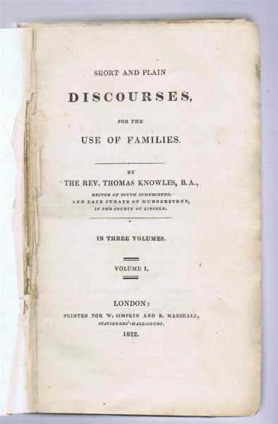 Image for Short and Plain Discourses for the Use of Families, Volume I only