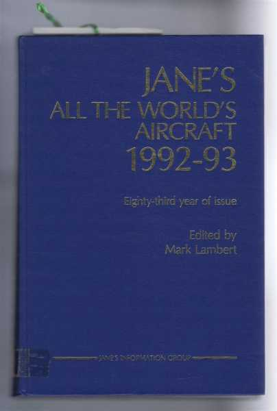 Image for Jane's All the World's Aircraft 1992-93; 83rd year of issue