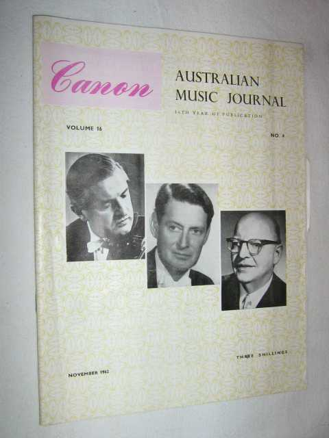Canon: Australian Music Journal vol 16 number 4 : November 1962, Articles by Colin Brumby Gerald Seama