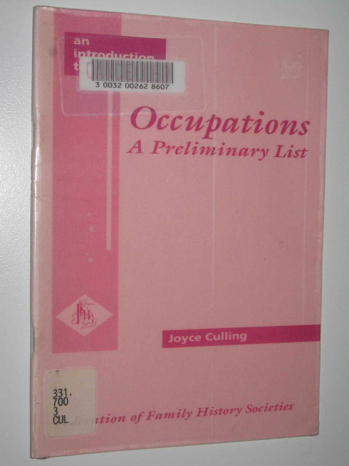 Image for Occupations A Preliminary List