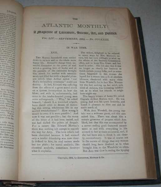 The Atlantic Monthly: A Magazine of Literature, Science, Art and Politics Volume LIV, July-December 1884 Bound in One Volume, Various