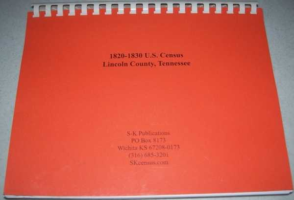 1820-1830 U.S. Census, Lincoln County, Tennessee, N/A