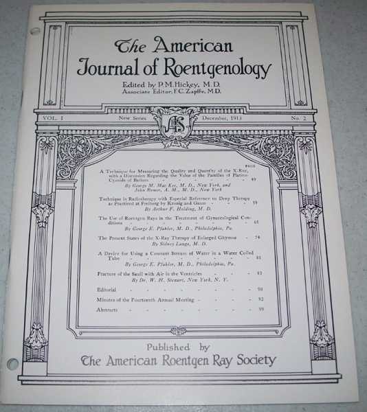 The American Journal of Roentgenology Volume I, Number 2, December 1913, Hickey, P.M. (ed.)