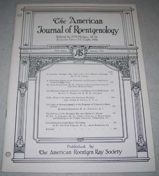 The American Journal of Roentgenology Volume I, Number 3, January 1914, Hickey, P.M. (ed.)