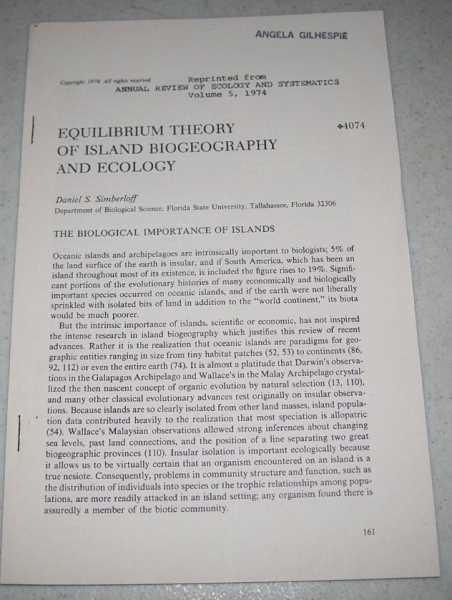 Equilibrium Theory of Island Biogeography and Ecology (Reprinted from Annual Review of Ecology and Systematics Volume 5, 1974), Simberloff, Daniel S.