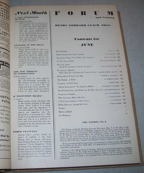 The Forum and Century Volume 89, January-June 1932 Bound Together, Various