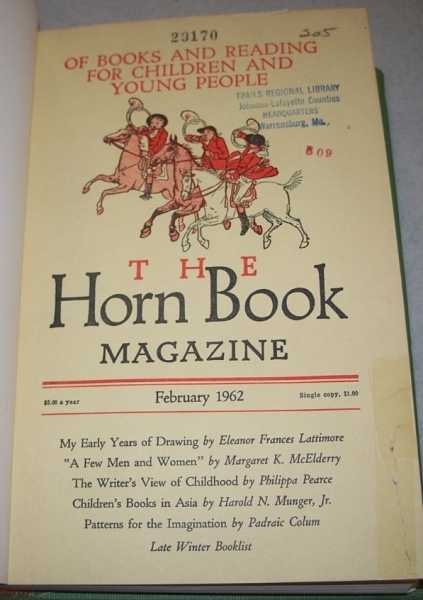 The Horn Book Magazine Volume XXXVIII, 1962, Six Issues Bound in One Volume, N/A