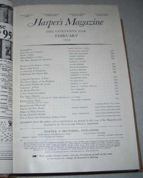 Harper's Magazine Volume 168, December 1933-May 1934 Bound in One Volume, N/A