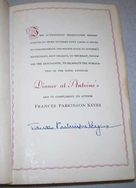 Dinner at Antoine's: A Novel, Keyes, Frances Parkinson