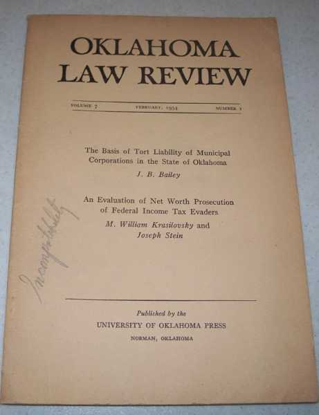 Oklahoma Law Review February 1954, Volume 7, Number 1, Various