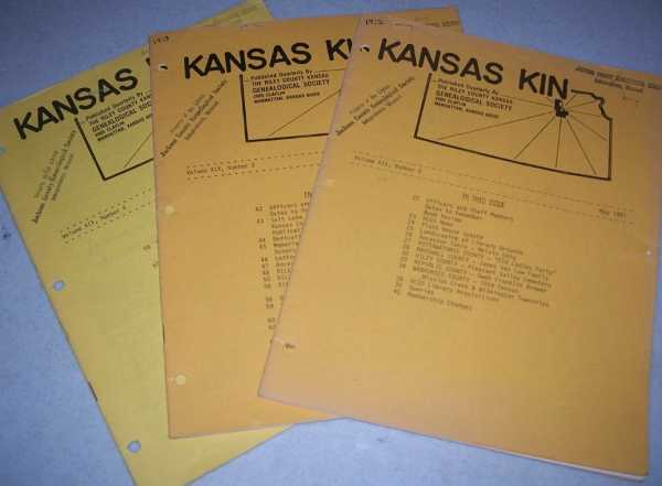 Kansas Kin (3 Issues May-August-November 1981) published by The Riley County Kansas Genealogical Society, N/A