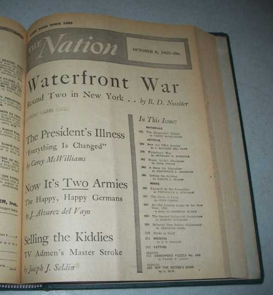 The Nation (America's Leading Liberal Weekly Newspaper) Volume 181, July-December 1955 Bound in One Volume, N/A