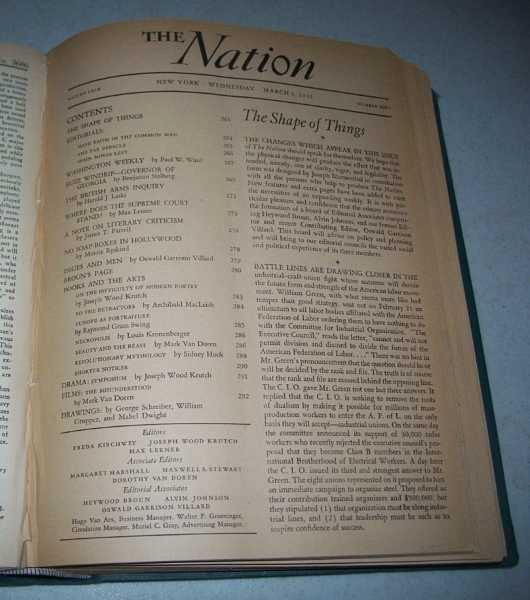 The Nation (America's Leading Liberal Weekly Newspaper) Volume 142, January-June 1936 Bound in One Volume, N/A