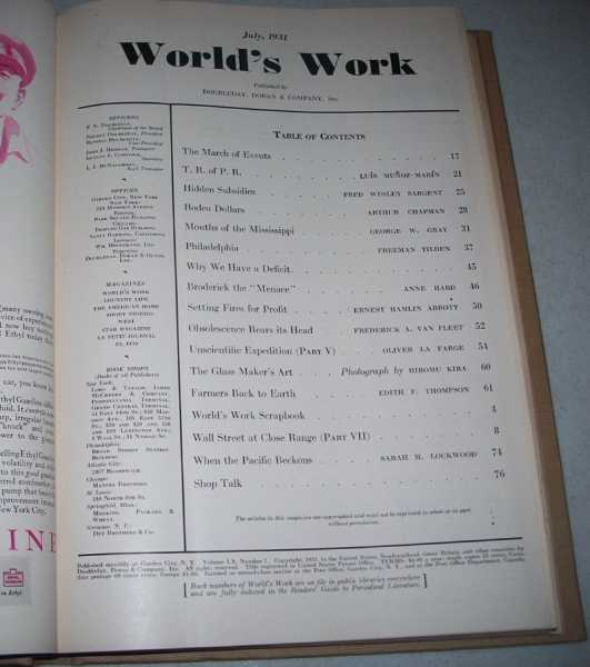 World's Work (Magazine) Volume 60, July-December 1931 Bound in One Volume, Various