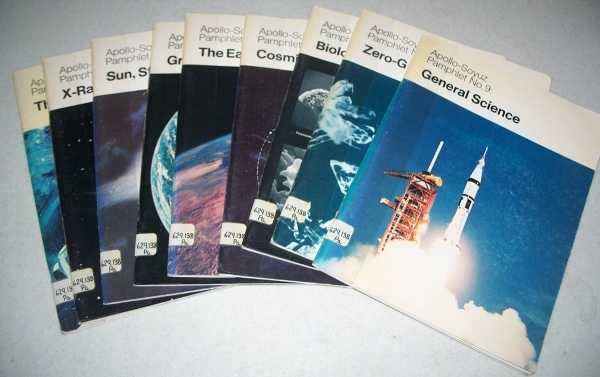 Apollo-Soyuz Pamphlet Set of Nine Books: 1-The Flight; 2-X-Rays, Gamma Rays; 3-Sun, Stars, in Between; 4-Gravitational Field; 5-The Earth from Orbit; 6-Cosmic Ray Dosage; 7-Biology in Zero-G; 8-Zero-G Technology; 9-General Science, N/A