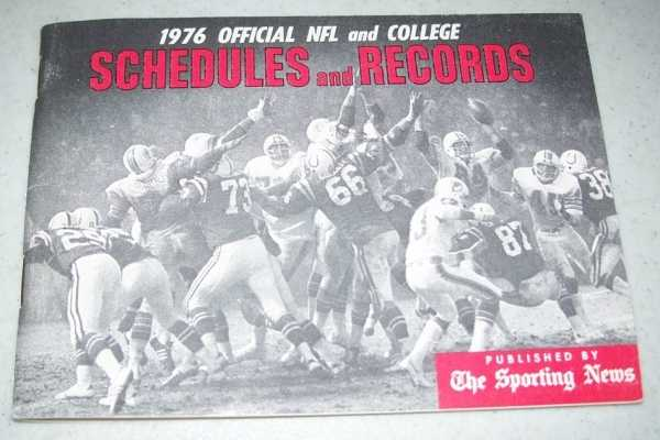 1976 Official NFL and College Schedules and Records, N/A