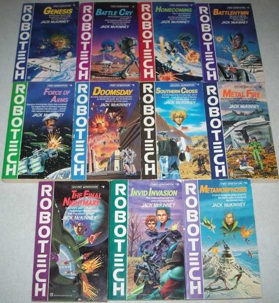 Robotech Set of Books #1-11: 1-Genesis; 2-Battle Cry; 3-Homecoming; 4-Battlehymn; 5-Force of Arms; 6-Doomsday; 7-Southern Cross; 8-Metal Fire; 9-The Final Nightmare; 10-Invid Invasion; 11-Metamorphosis, McKinney, Jack