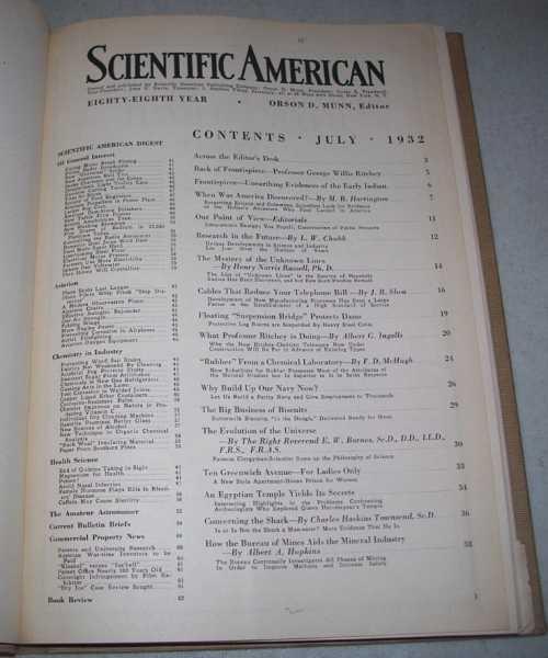 Scientific American Volume 147, July-December 1932 Bound in One Volume, N/A