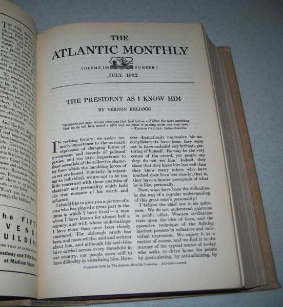 Atlantic Monthly Magazine Volume 150, July-December 1932 Bound Together, Various