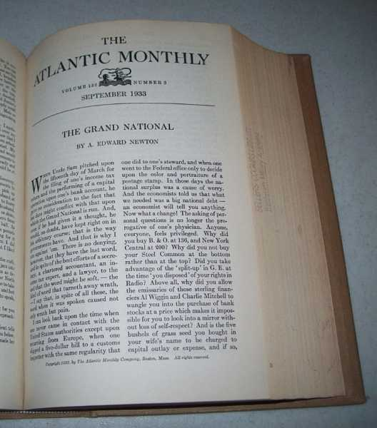 Atlantic Monthly Magazine Volume 152, July-August 1933 Bound Together, Various