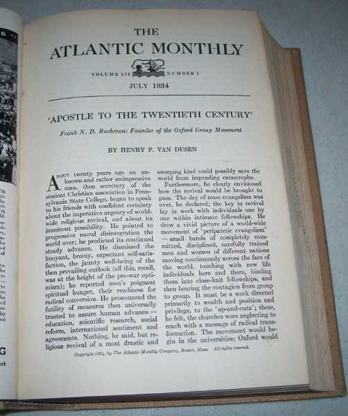 Atlantic Monthly Magazine Volume 154, July-August 1934 Bound Together, Various