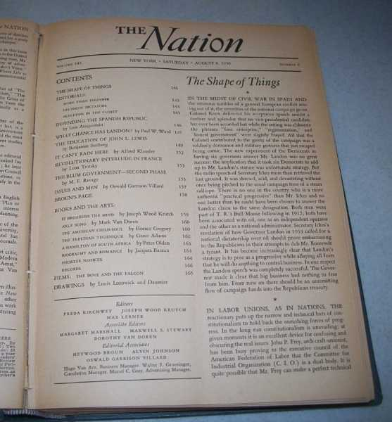The Nation (America's Leading Liberal Weekly Newspaper) Volume 143, July-December 1936 Bound in One Volume, N/A