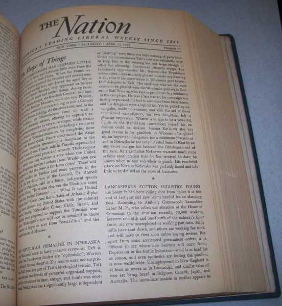 The Nation (America's Leading Liberal Weekly Newspaper) Volume 174, January-June 1952 Bound in One Volume, N/A