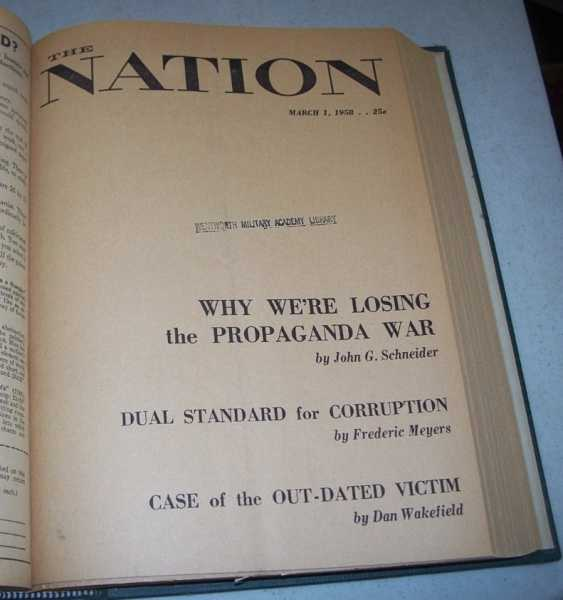 The Nation (America's Leading Liberal Weekly Newspaper) Volume 186 January-June 1958 Bound in One Volume, N/A