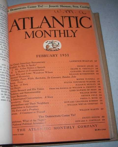 Atlantic Monthly Volume 147, January-June 1931, Bound in One Volume, N/A
