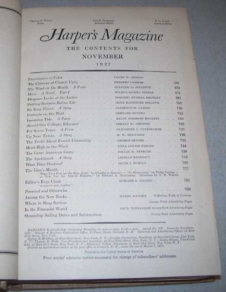 Harper's Magazine Volume 155, June-November 1927 Bound in One Volume, N/A