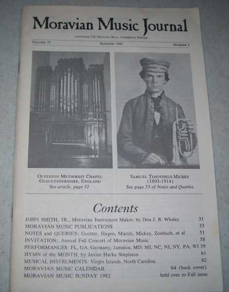 Moravian Music Journal Volume 27, Number 2, Summer 1982, N/A