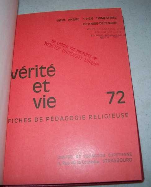 Verite et Vie: Fiches de Pedagogie Religieuse October-December 1966 #72, N/A
