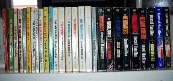 Matt Helm Series Complete Set of 27 Books: Death of a Citizen; The Wrecking Crew; The Removers; The Silencers; Murderers' Row; The Ambushers; The Shadowers; The Ravagers; The Devastators; The Betrayers; The Menacers; The Interlopers; The Poisoners; The Intriguers; The Intimidators; The Terminators; The Retaliators; The Terrorizers; The Revengers; The Annihilators; The Infiltrators; The Detonators; The Vanishers; The Demolishers; The Frighteners; The Threateners; The Damagers, Hamilton, Donald
