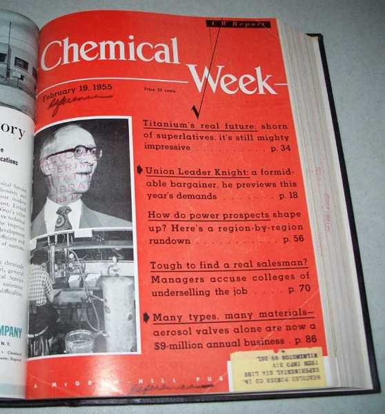 Chemical Week Volume 76, January-March 1955 Bound Volume, N/A