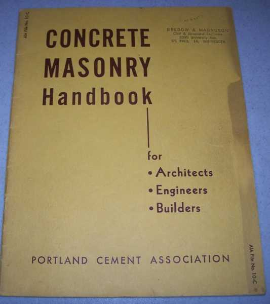 Concrete Masonry Handbook for Architects, Engineers, Builders, N/A
