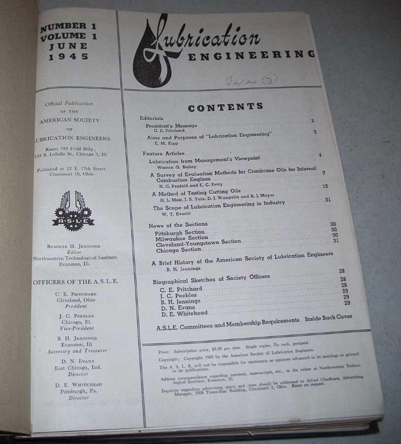 Lubrication Engineering Volumes 1-4, 1945-1948, N/A