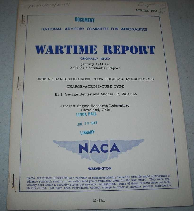 Design Charts for Cross Flow Tubular Intercoolers Charge Across Tube Type (NACA Wartime Report), Reuter, J. George and Valerino, Michael F.