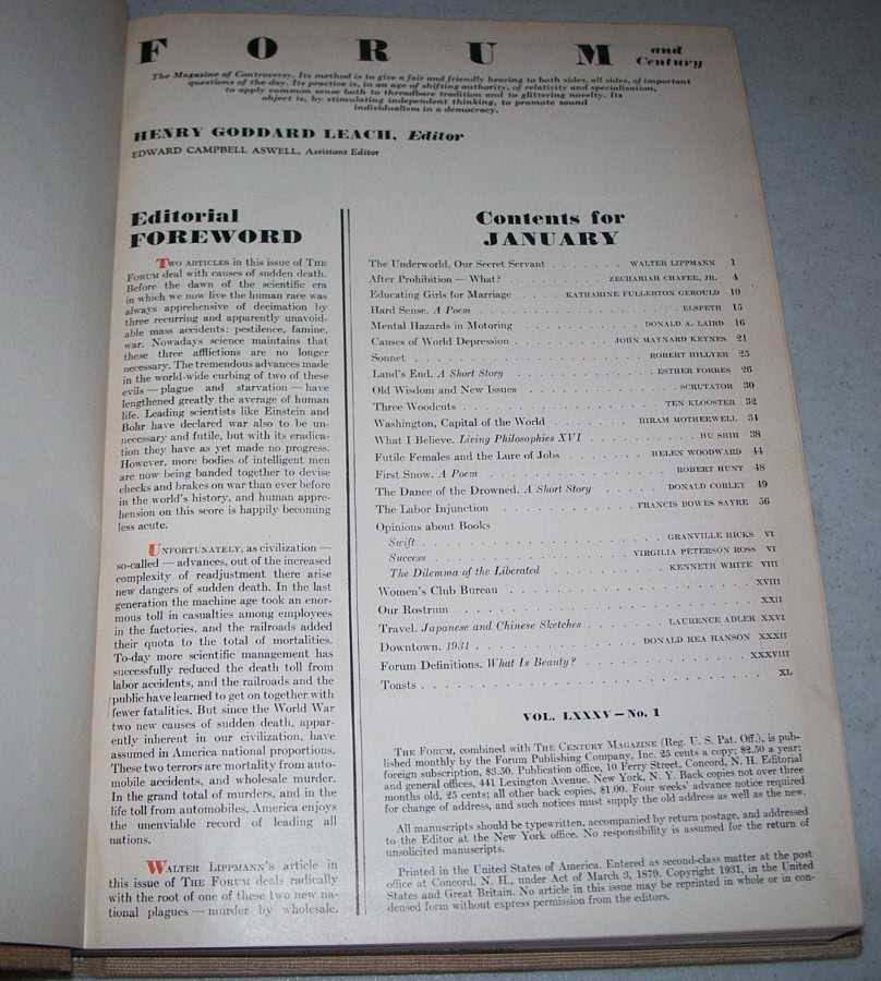 The Forum Magazine Volume 85, January-June 1931, Bound in One Volume, Various