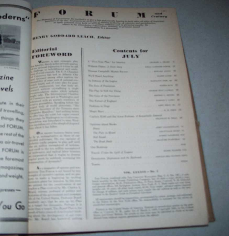 The Forum Magazine Volume 86, July-December 1931, Bound in One Volume, Various